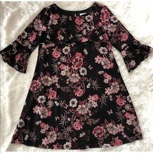 Black w/Beautiful Floral Print, 3/4 Sleeve Dress
